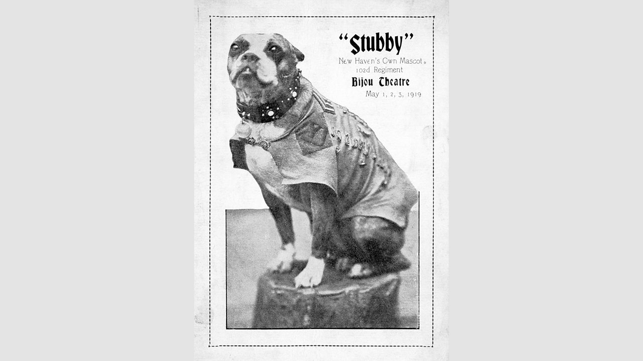 Sergeant Stubby advertising a theatre show he was in