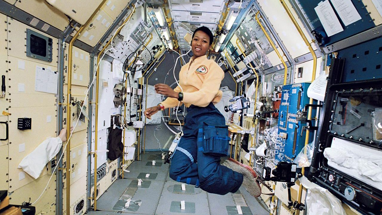 Astronaut Mae C. Jemison, in the Space Shuttle Endeavour.