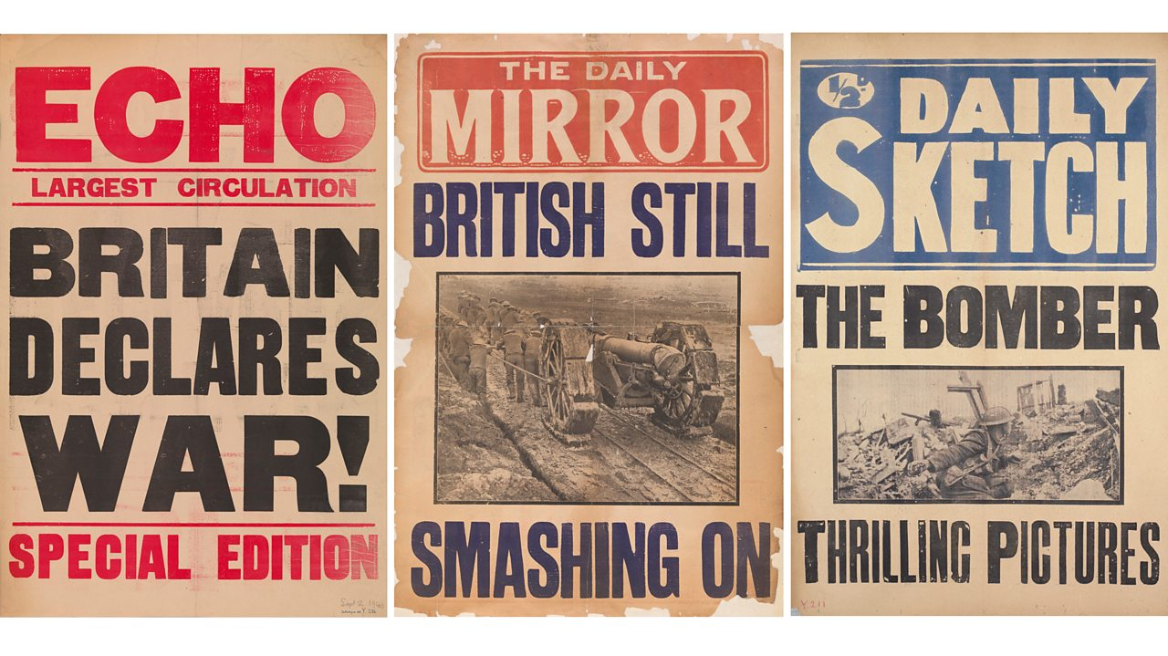 Three British newspaper front pages during World War One with patriotic headlines