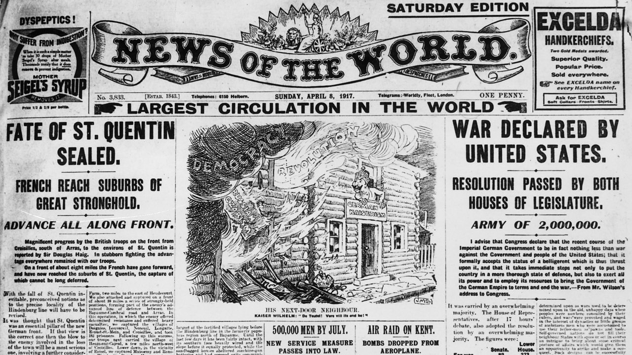 A News of the World front page from 1917 covering World War One