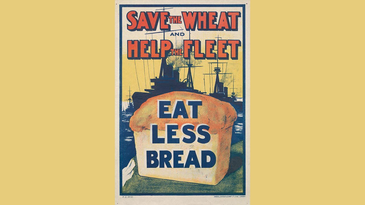 Information poster from World War One encouraging people to eat less bread