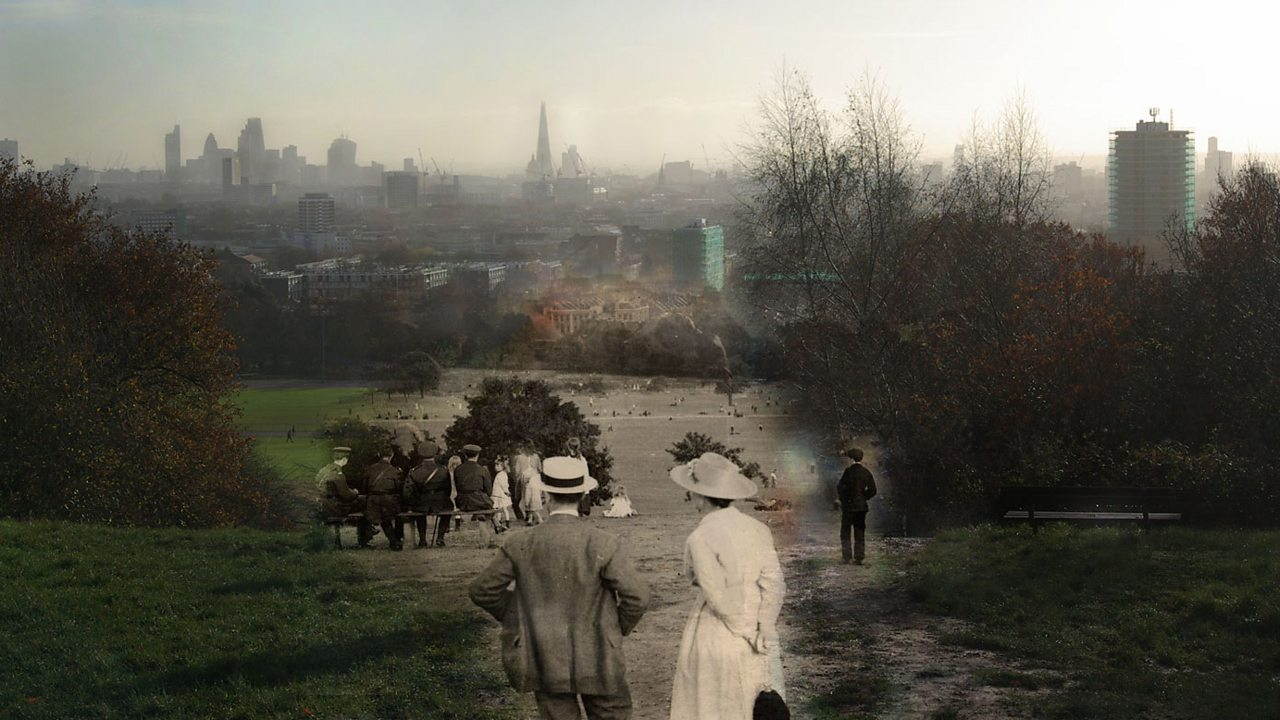 A modern view of London merged with early 1900s people in fields