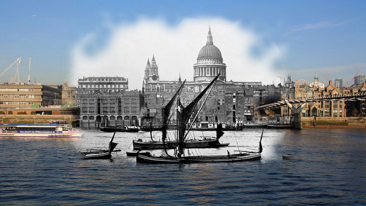 A modern view of the Thames river merged with an early 1900s picture of St Paul Cathedral