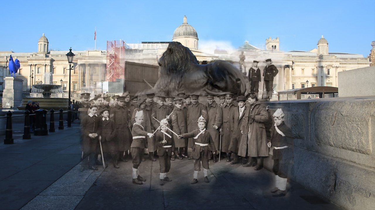 A modern view of Trafalgar Square merged with World War One men and children at a rally