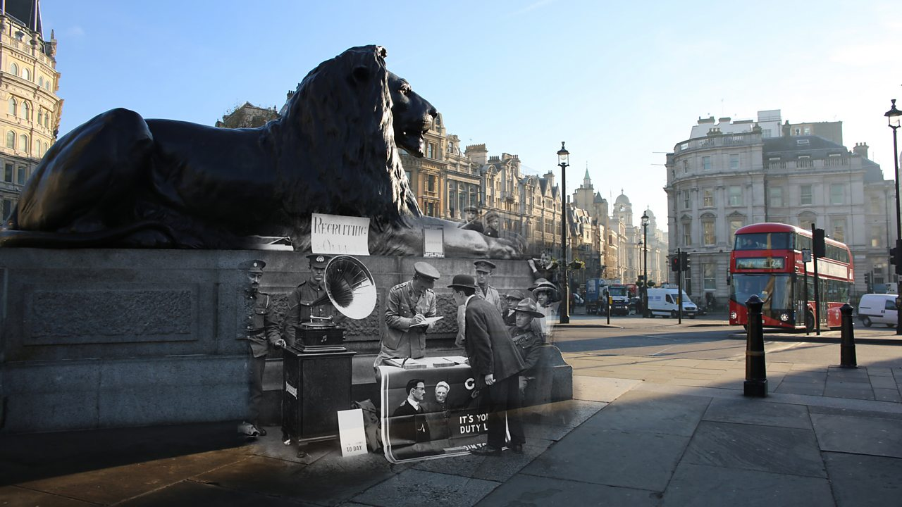 A modern view of Trafalgar Square merged with a photo of a World War One recruitment stand