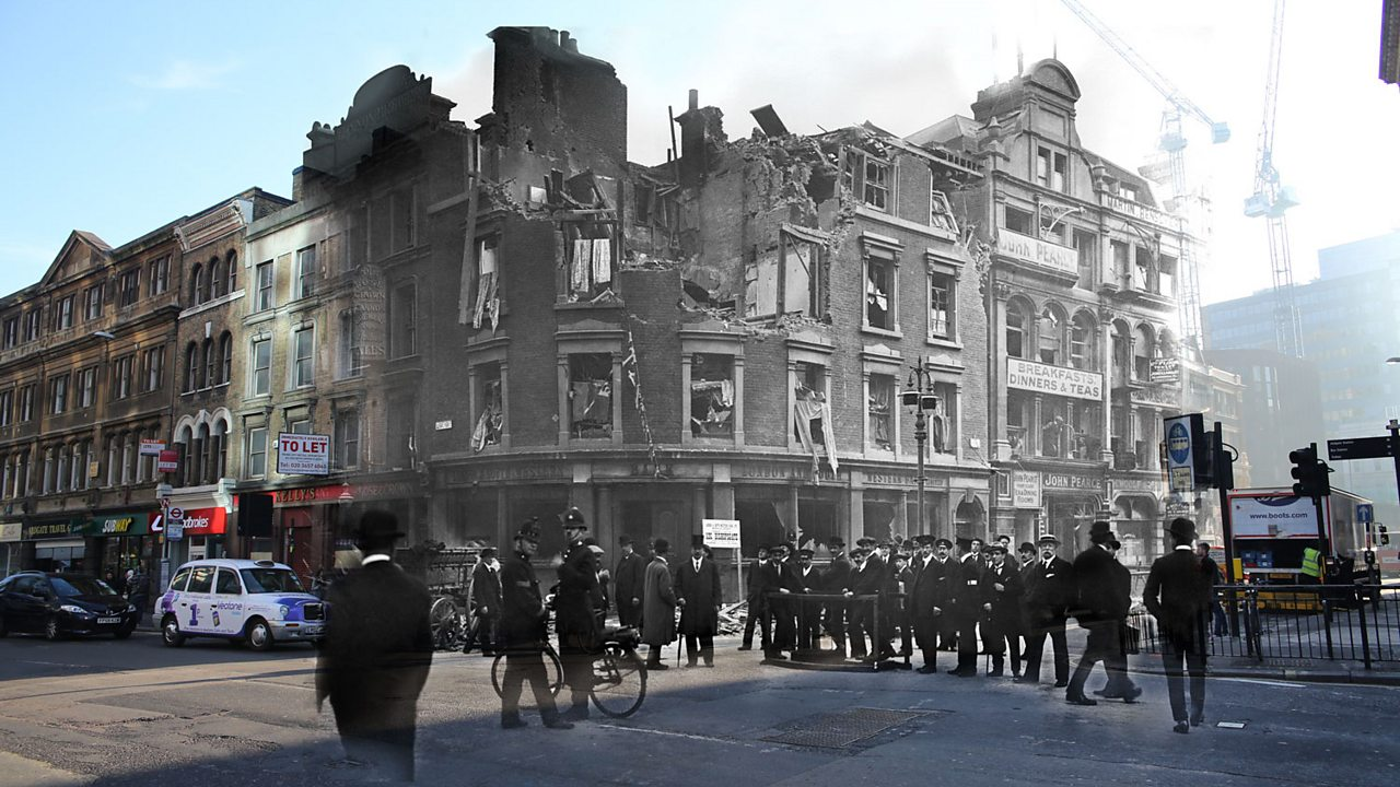 A modern London street corner merged with an air raided World War One building