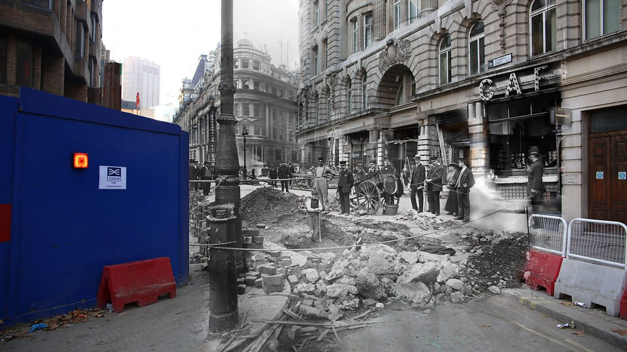 A modern London street corner merged with World War One air raid rubble