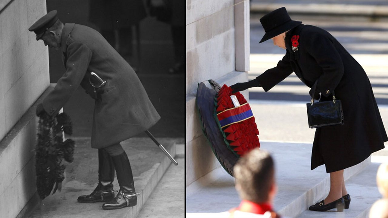Split screen image of royalty laying poppies at a memorial in 1918 and modern day