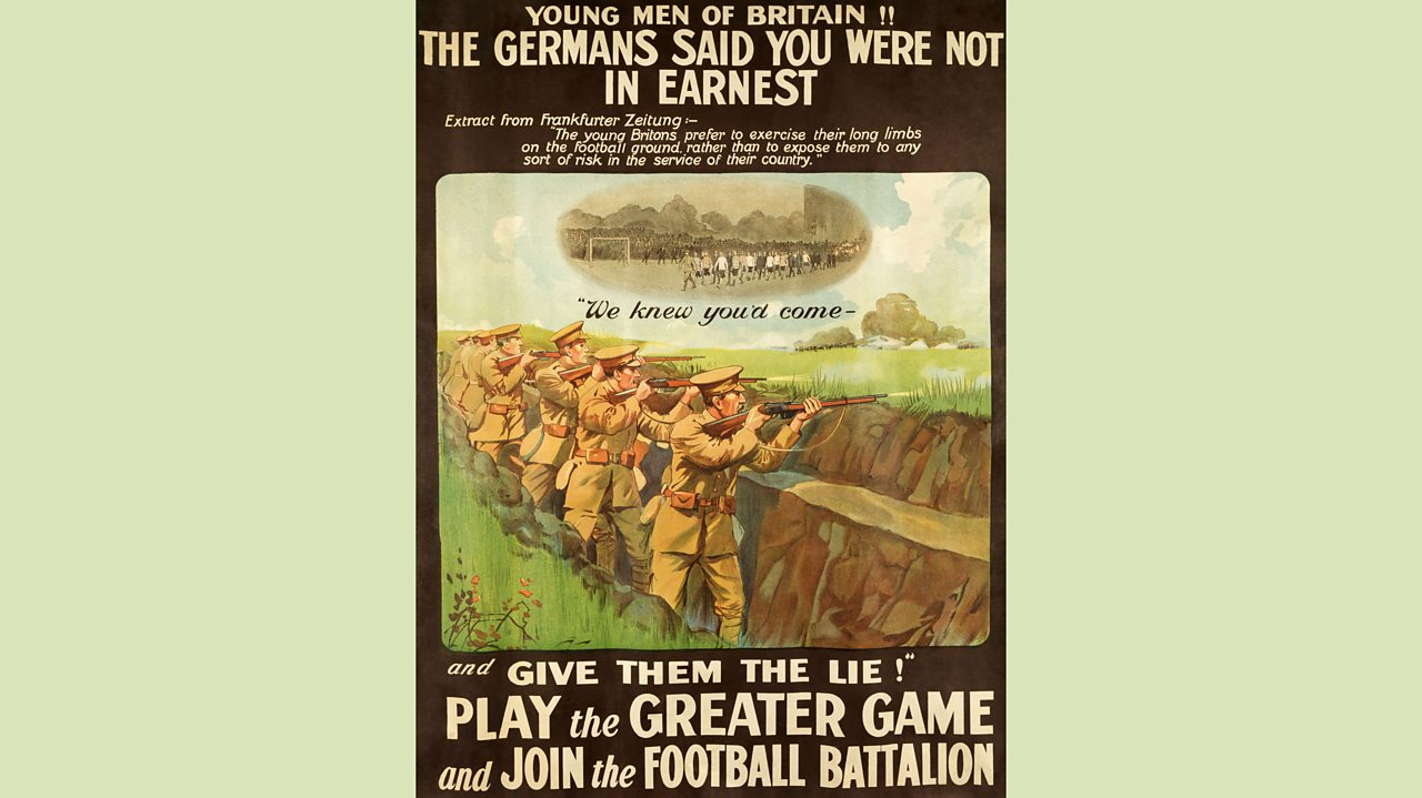 Poster encouraging footballers to join the Football Battalion