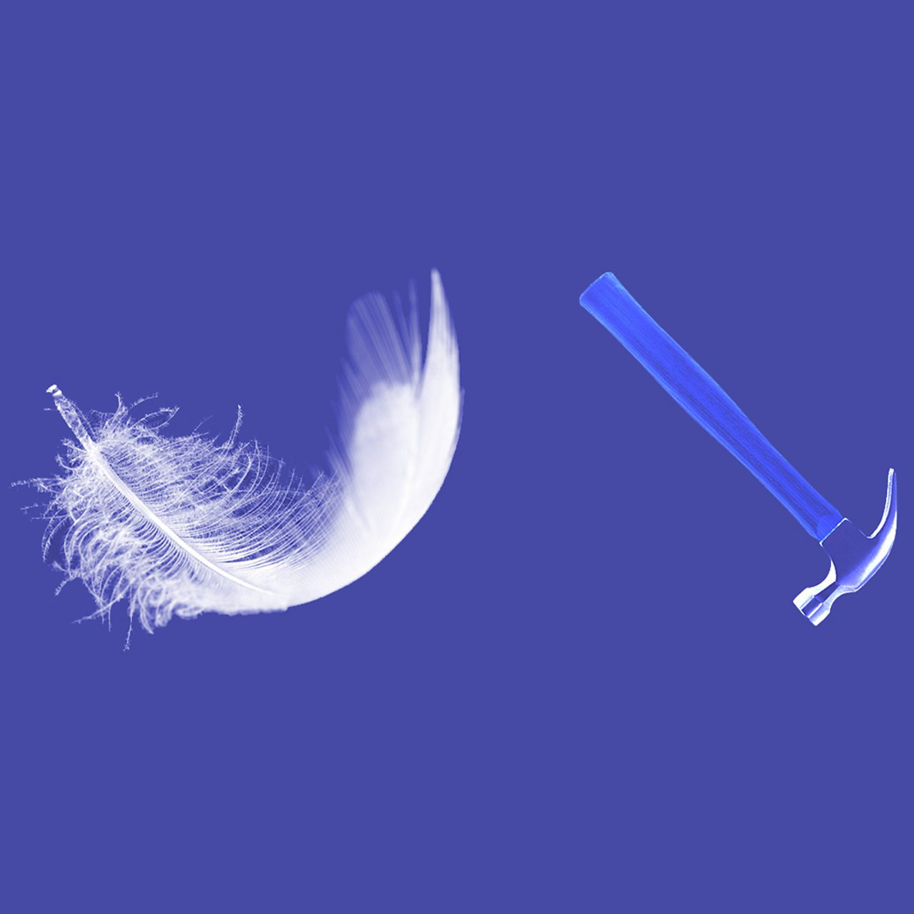 Which falls faster - a feather or a hammer?