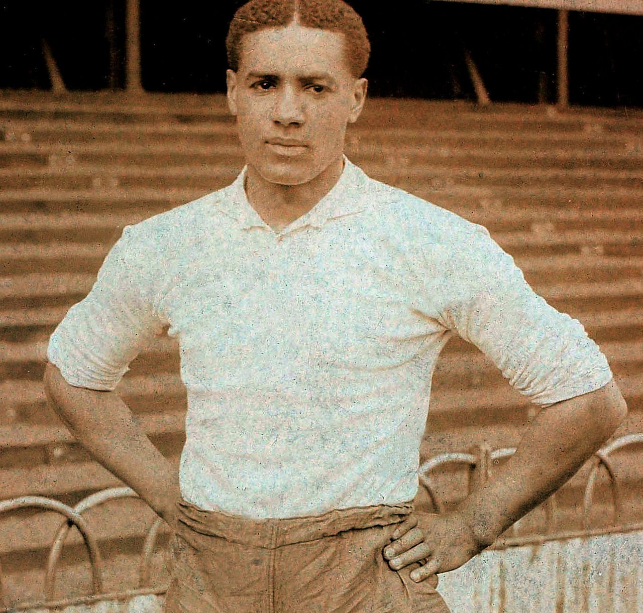 Photograph of Walter Tull at a football ground in the early 1900s