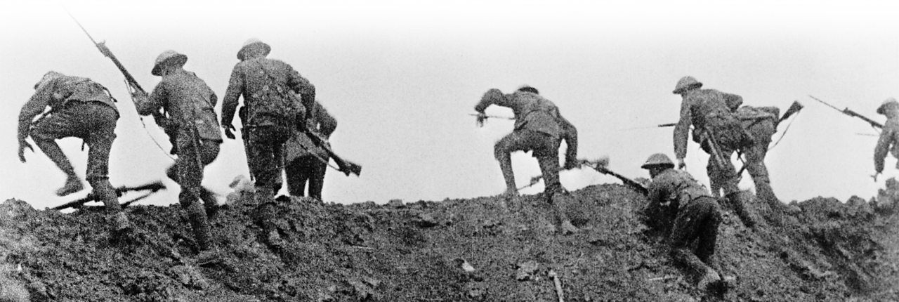 British soldiers going over the top from the film Battle of the Somme in 1916