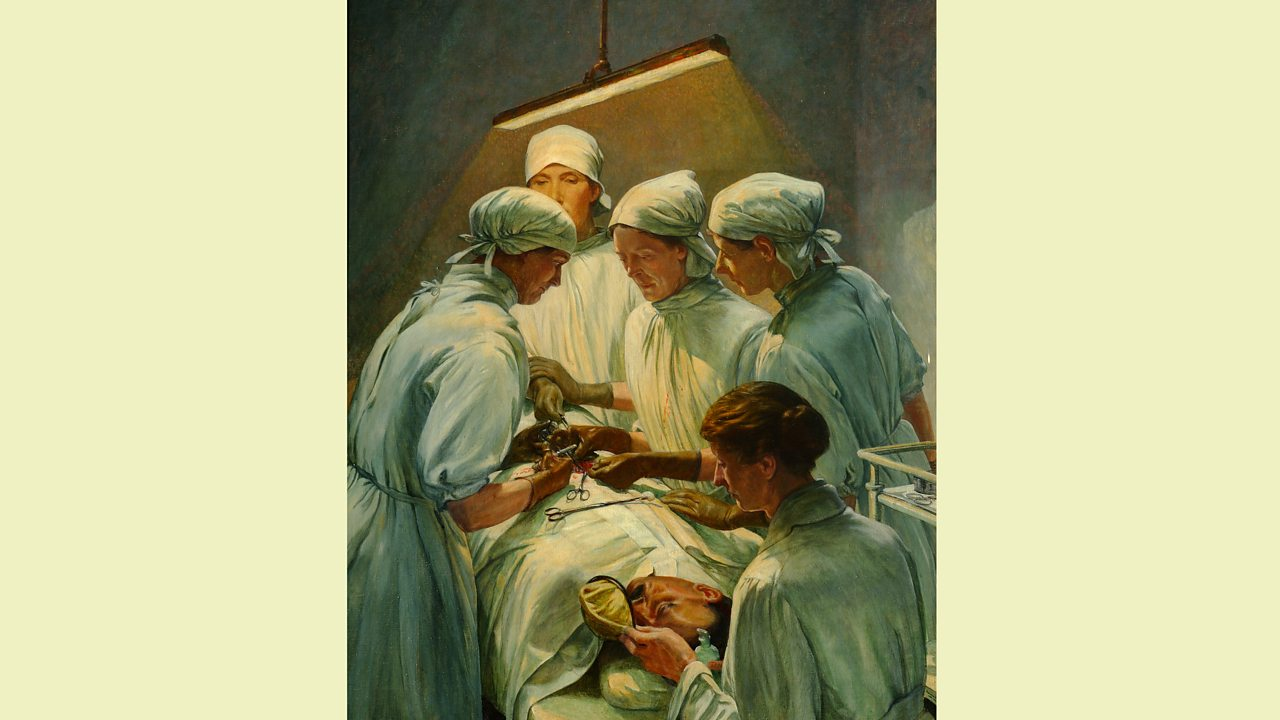Painting of female doctors and staff from Endell Street hospital operating during World War One