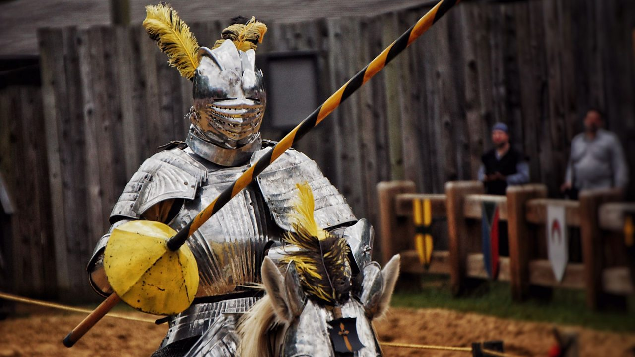 A knight jousting