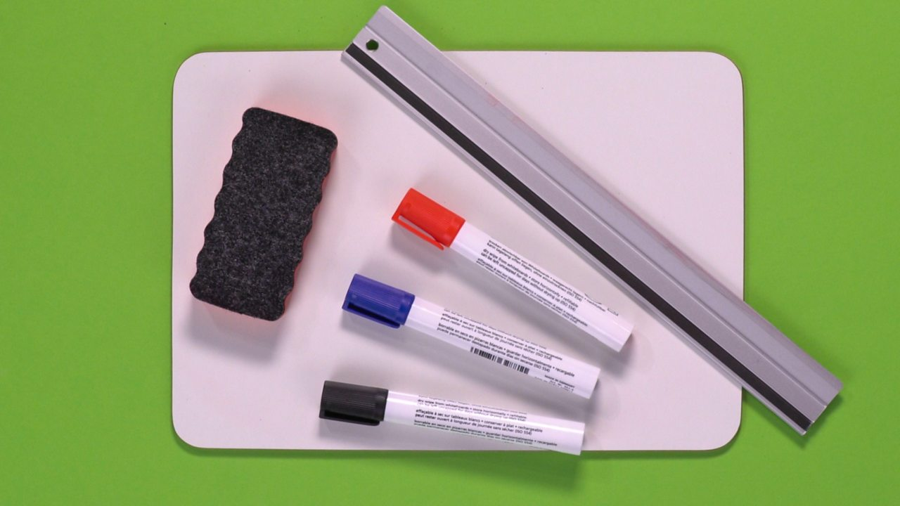 YOU WILL NEED: A whiteboard, a ruler, pens and a board rubber.