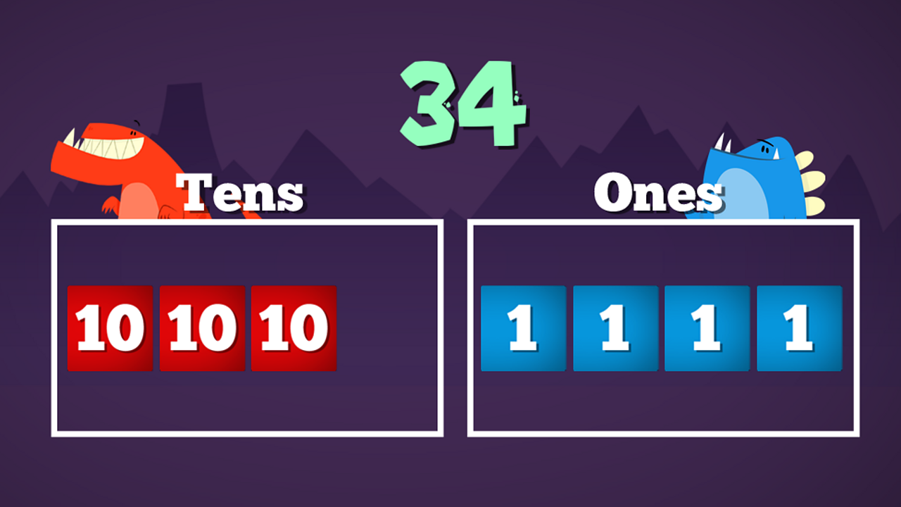 Any two-digit number can be shown using tens and ones. For example, the number 34 can be divided into three lots of ten and four lots of one.