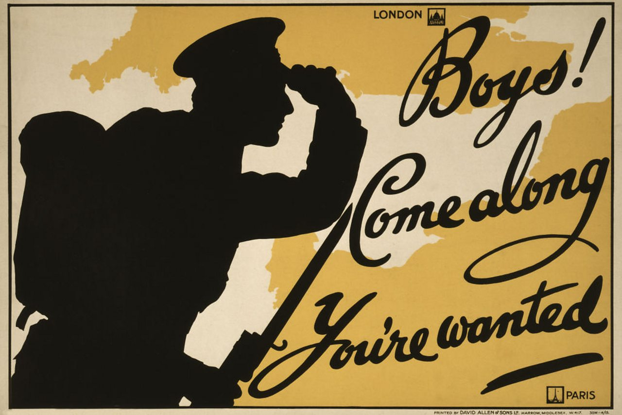 A WW1 propaganda poster that says 'Boys! Come along, You're wanted'