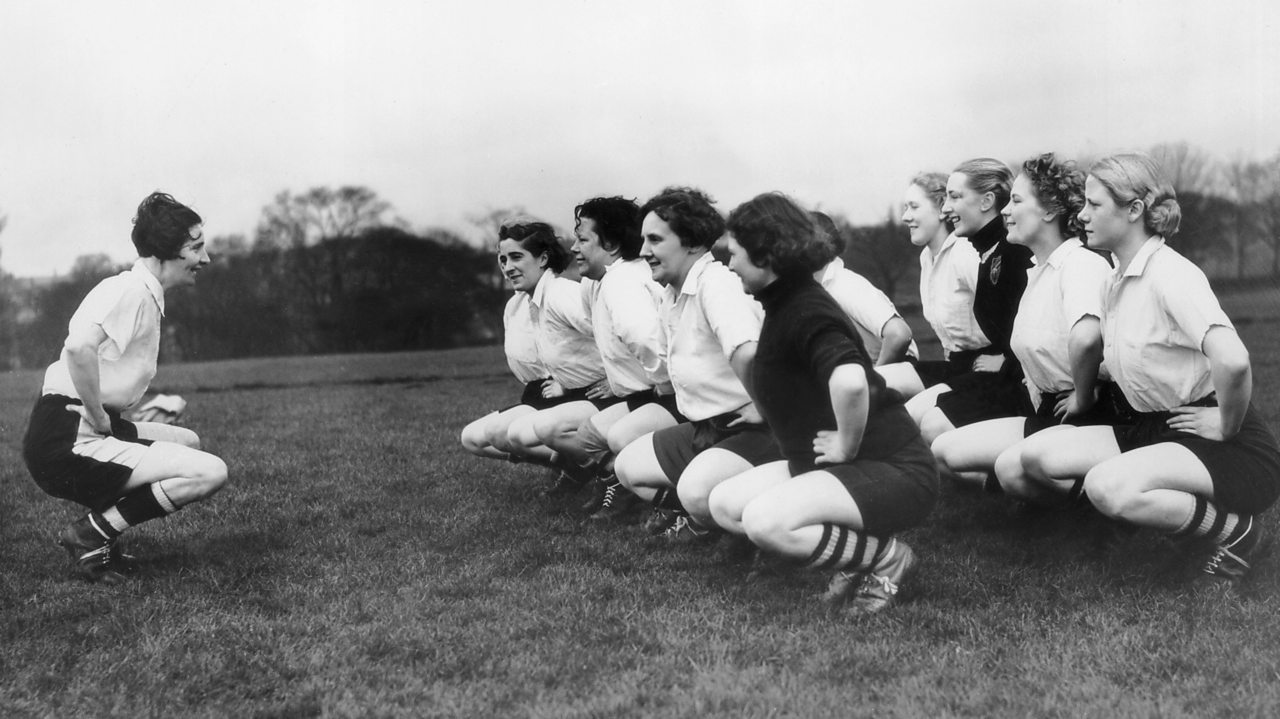 Captain Lily Parr of Dick, Kerr Ladies football team leading training
