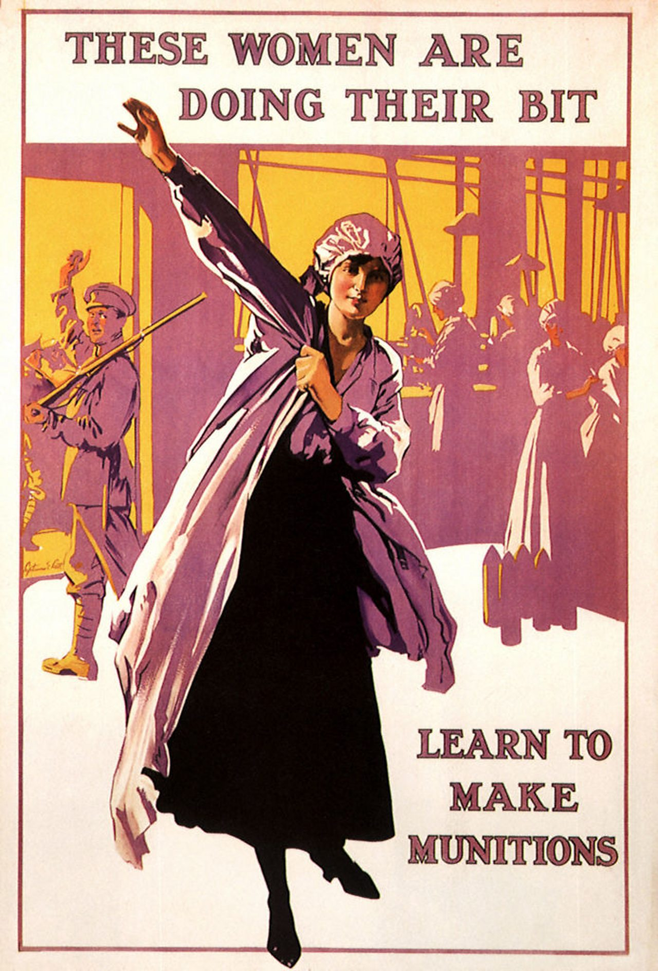 A WW1 propaganda poster encouraging women to learn to make munitions