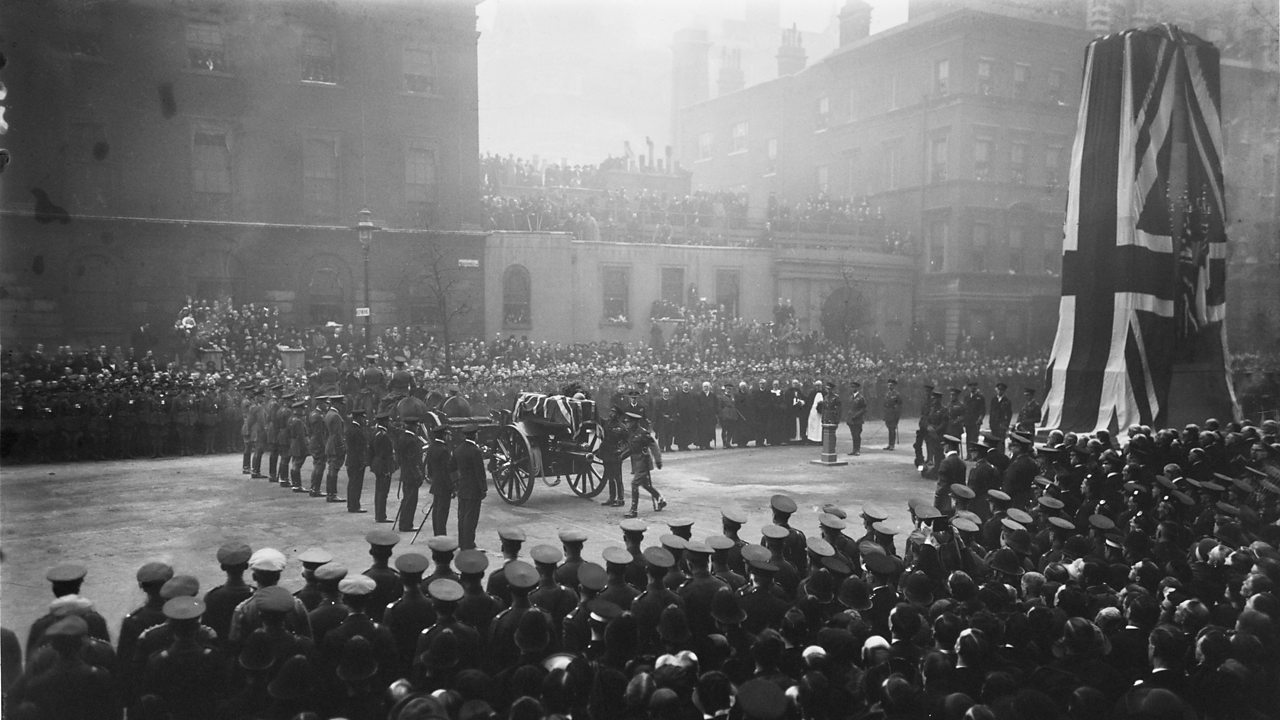 The Unknown Warrior's coffin being brought to the Cenotaph at Whitehall, London