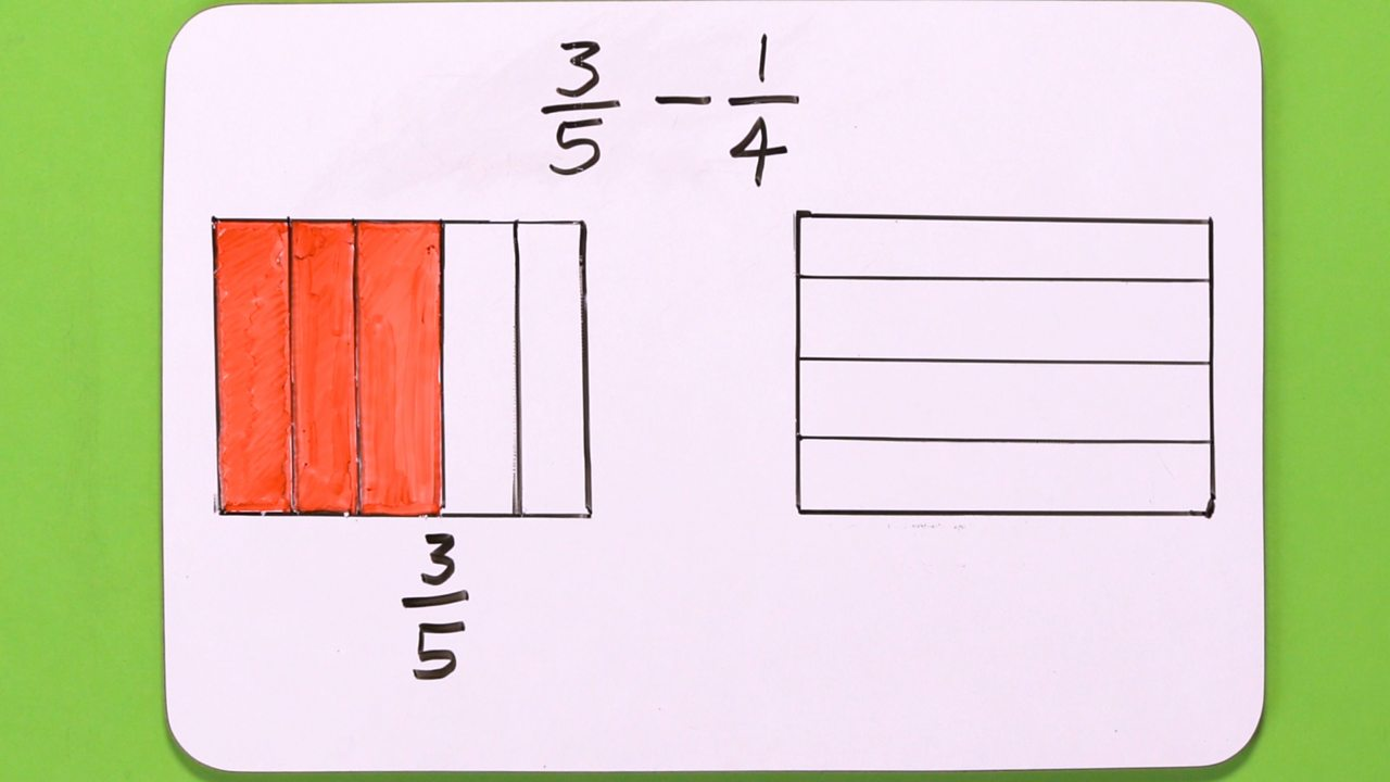 A image showing the fractions 3/5 and 1/4