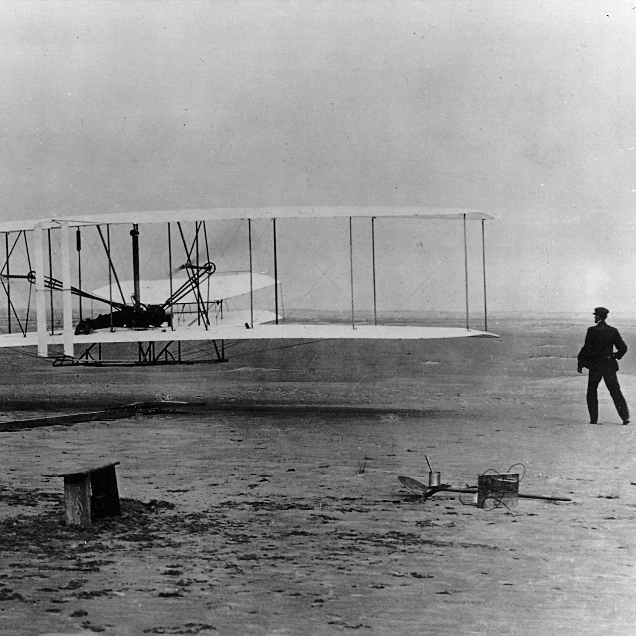 The Wright Flyer taking off