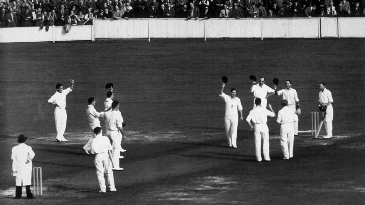 Sir Donald Bradman finishing his last ever cricket match