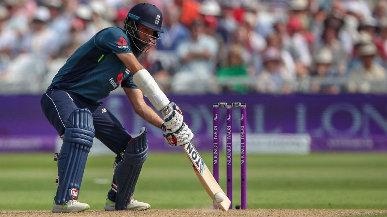 England's Moeen Ali hitting a yorker