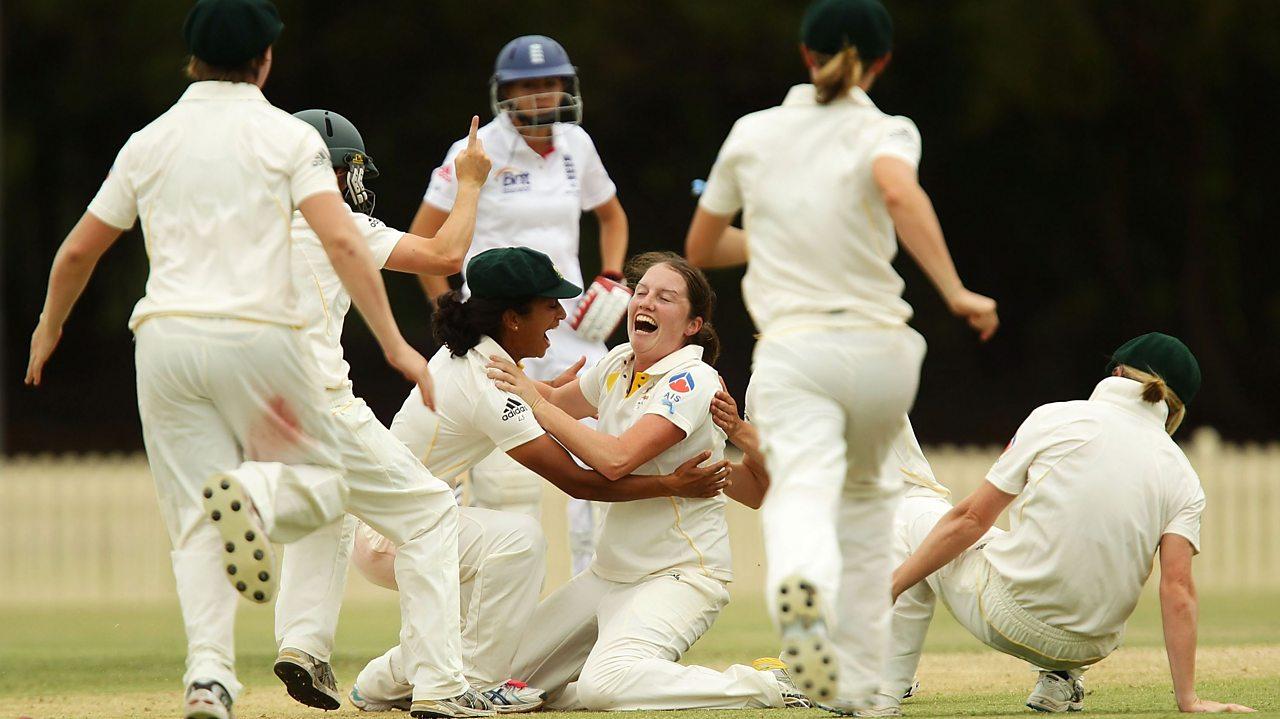 Australia's Rene Farrell celebrating a hat-trick in cricket
