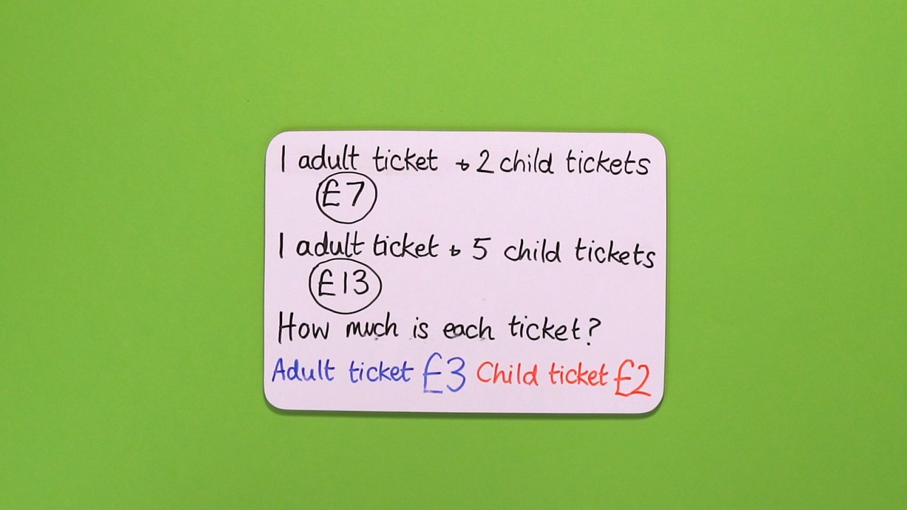 Therefore: an adult ticket costs £3 and a child ticket costs £2.
