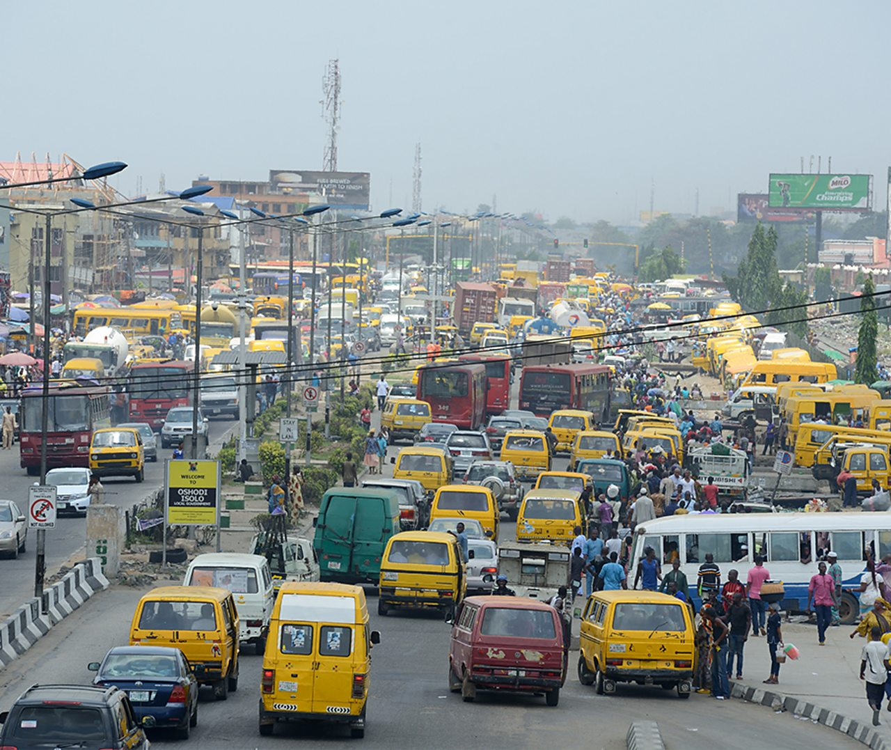A photo of traffic in the busy streets of Nigeria