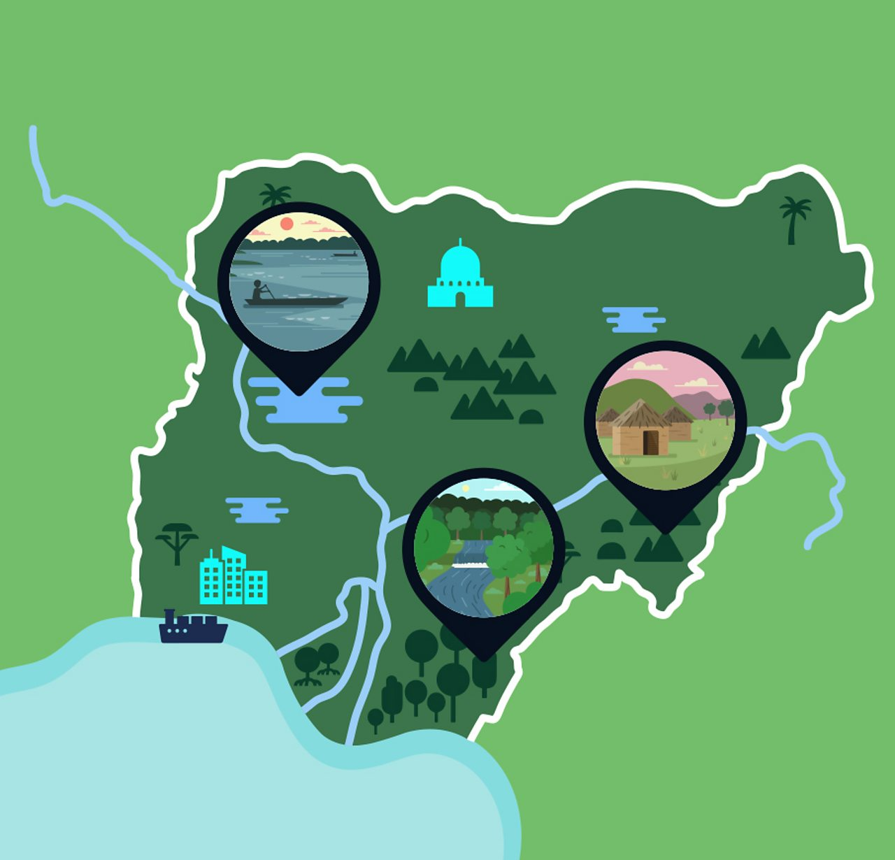 A map of Nigeria showing its rivers, forests and cities