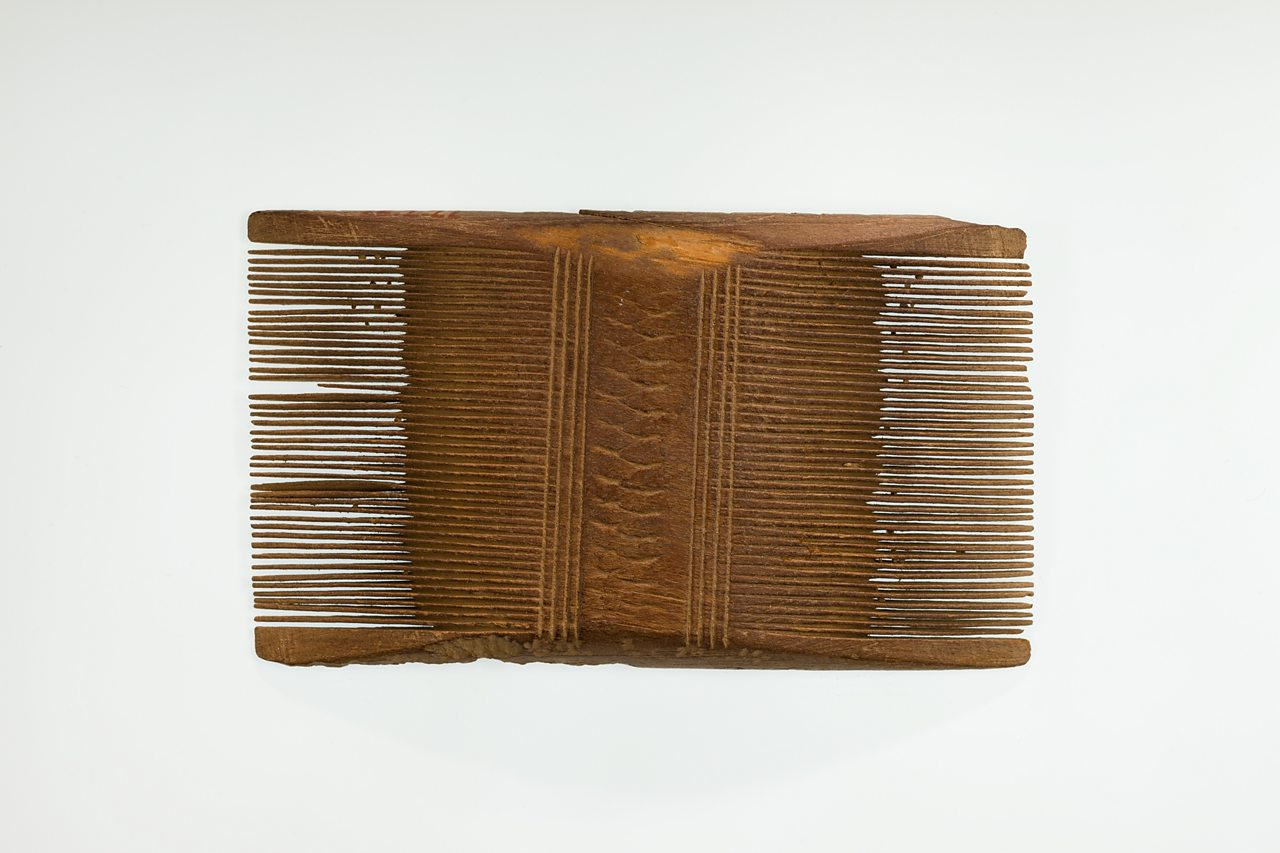 Just like a modern comb, these were used for brushing hair. Combs could be made of different materials. Some combs were made of hippopotamus ivory!