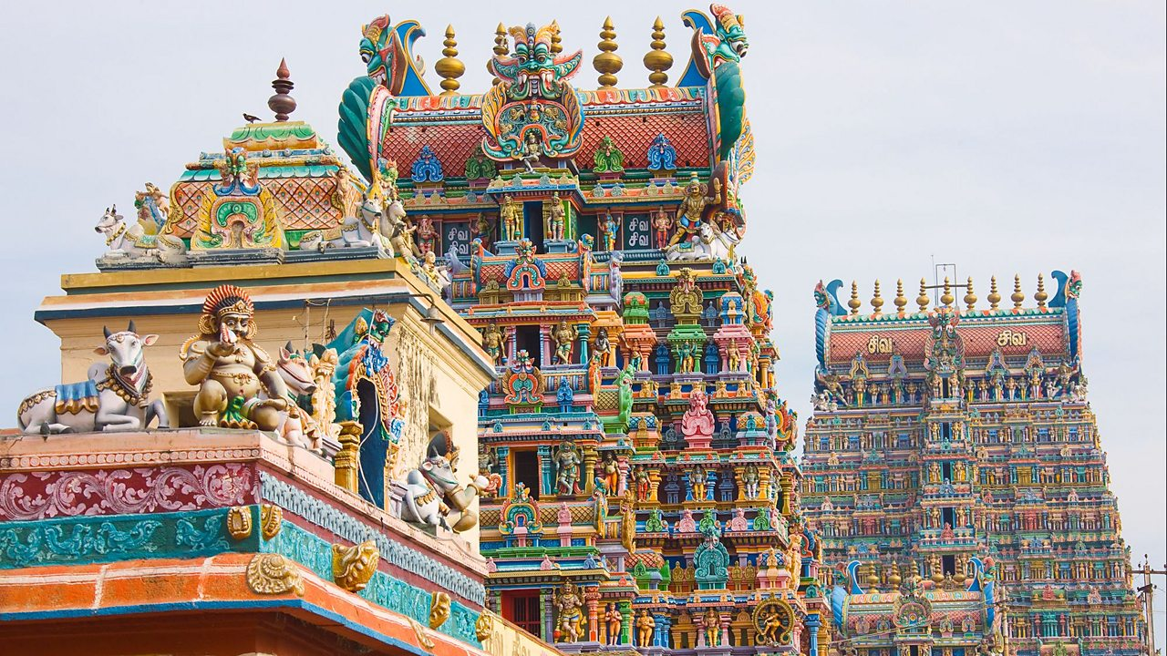 The Meenakshi temple in Madurai, Southern India. The main deity of the temple is Meenakshi (a form that the Goddess Parvati takes).
