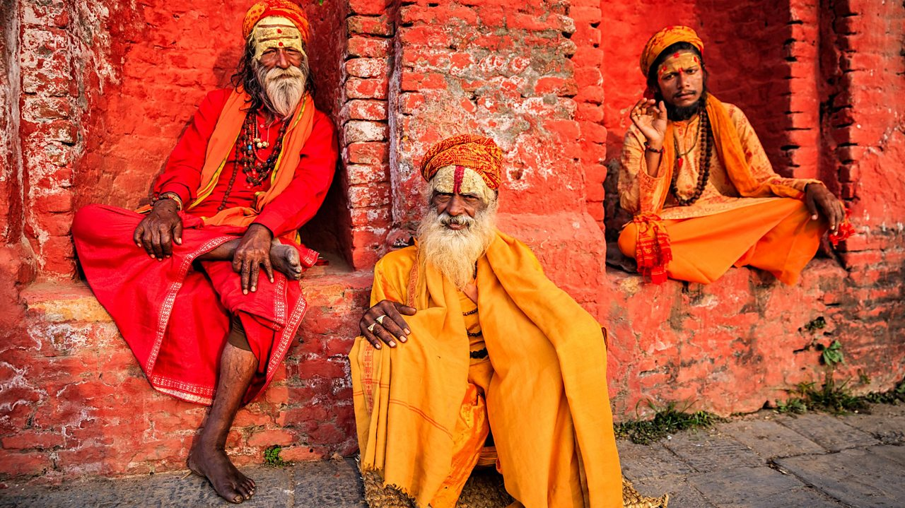 Sadhus are Hindu holy men who have rejected regular society and material possessions.  Instead they focus on leading a holy and spiritual life.