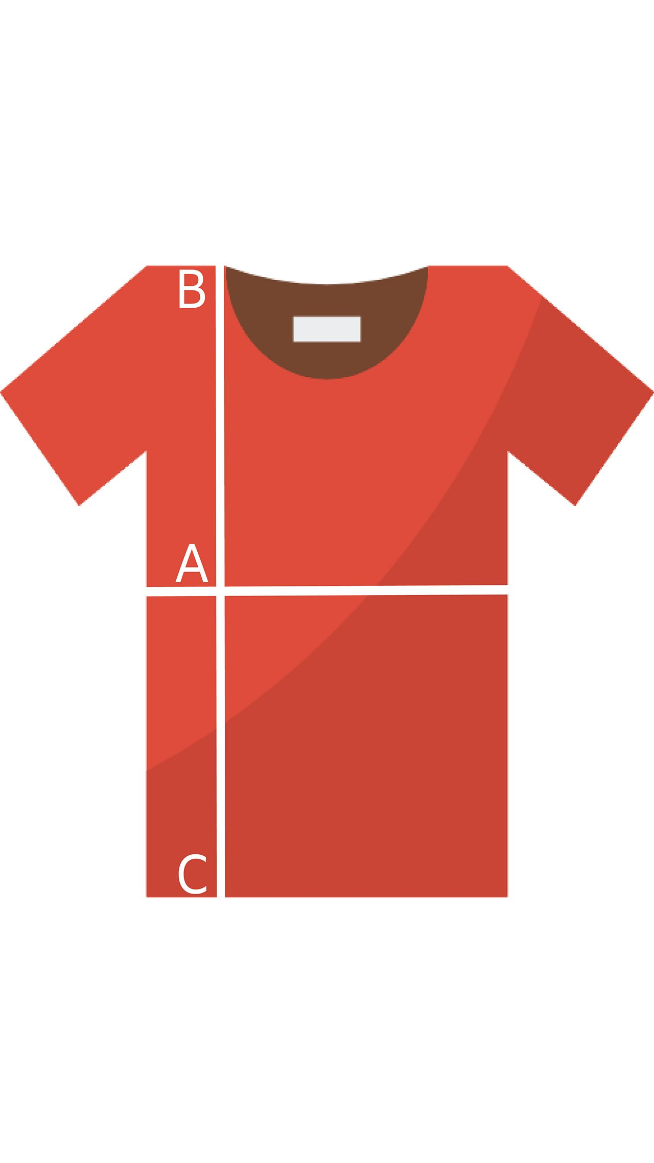 A graphic of a red t-shirt with folding guiding lines
