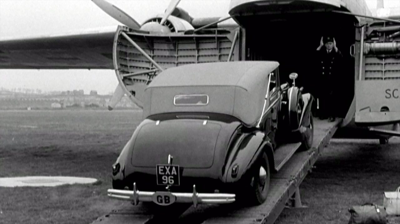Car air-ferry service to France, 1949