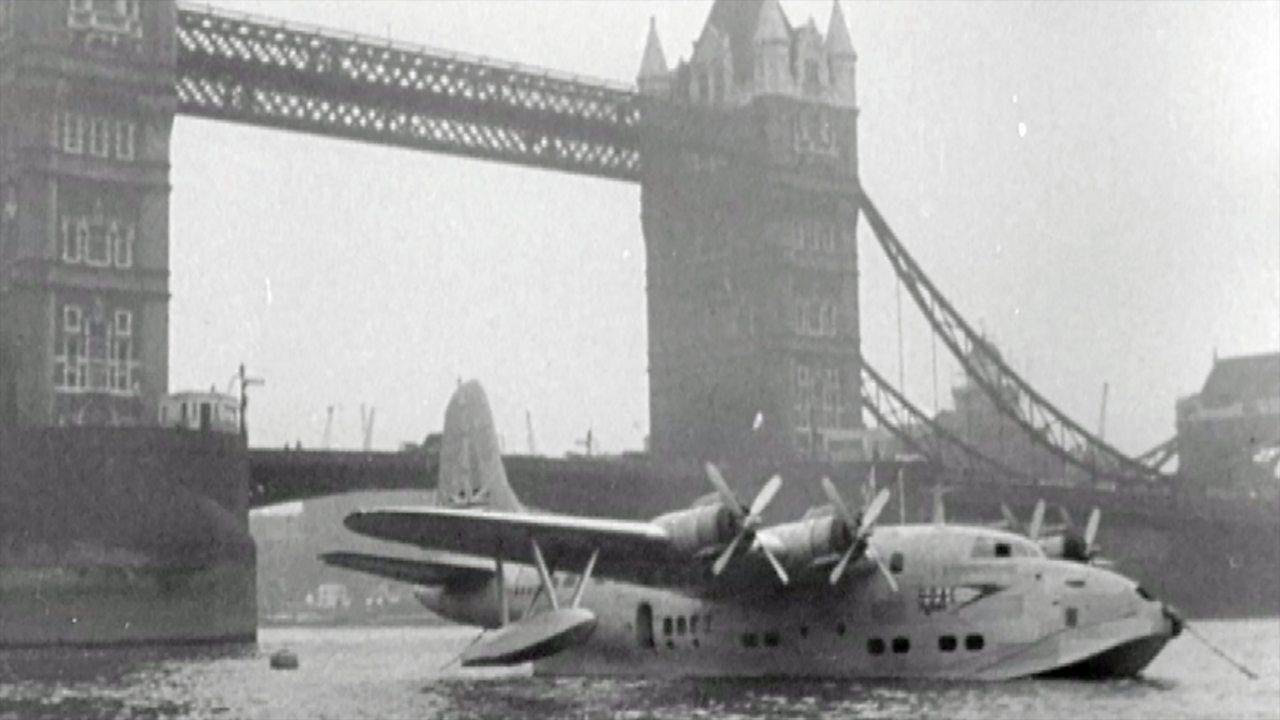 BOAC flying boat lands on the Thames, 1949