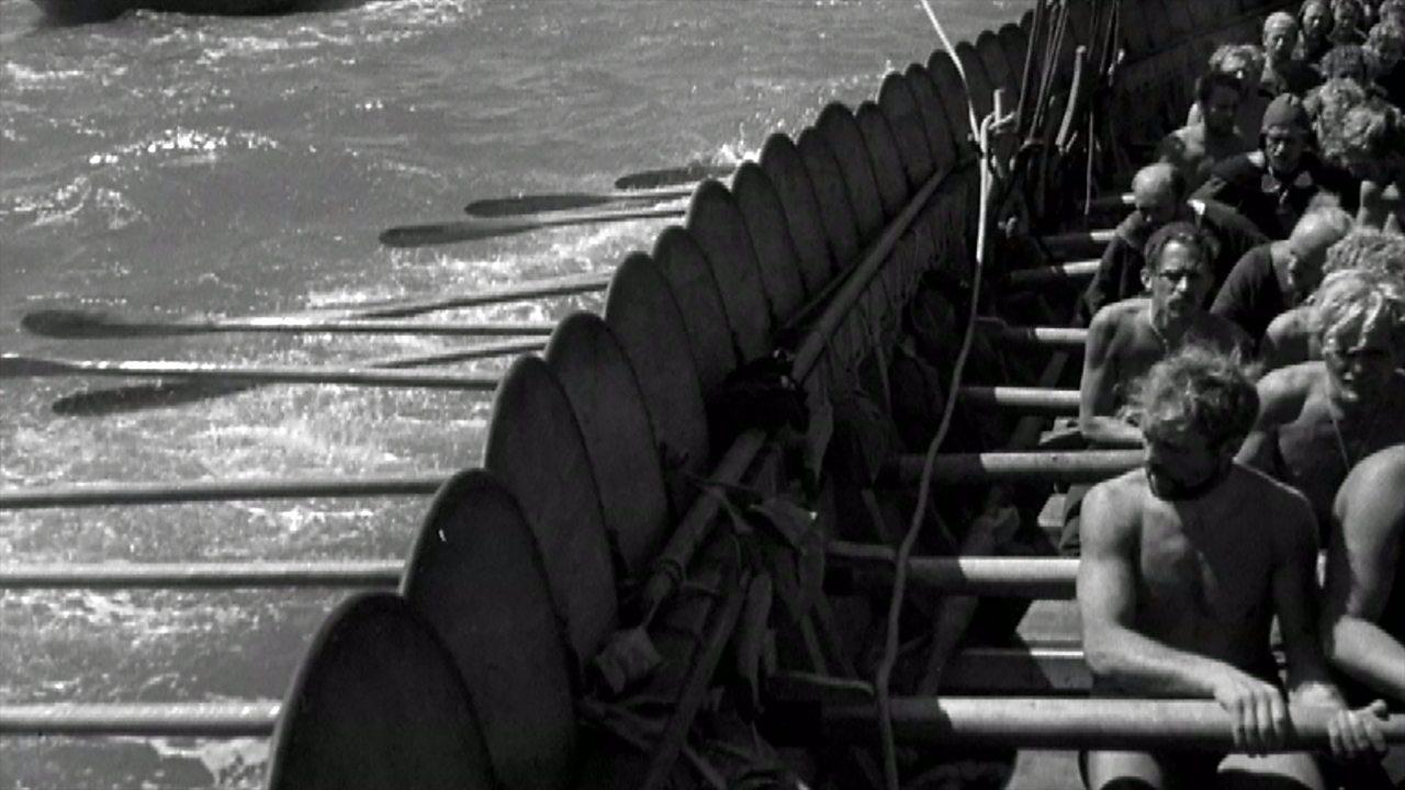 Modern Vikings recreate voyage to Britain, 1949