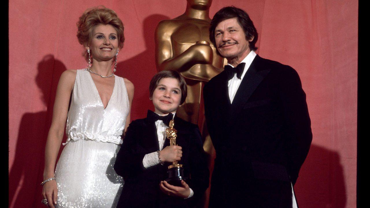 Tatum O'Neal winning her Oscar in 1974