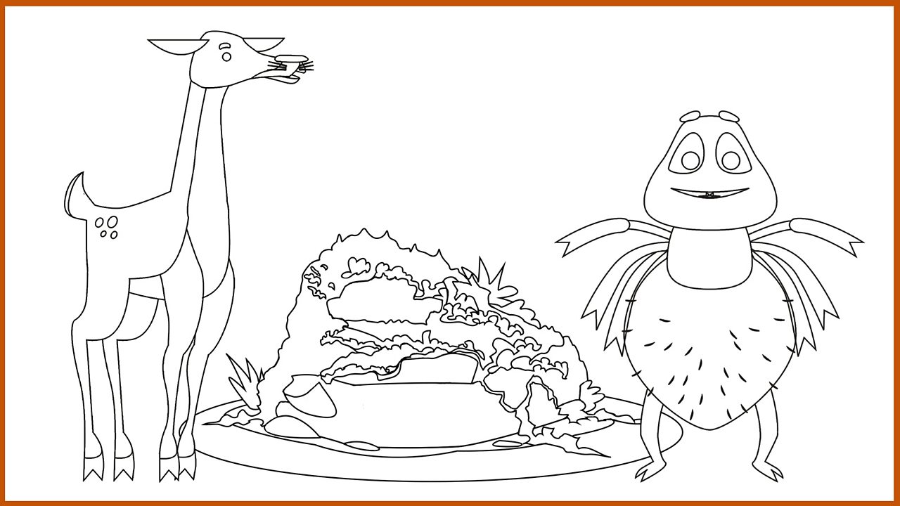 Outline drawing of Anansi, Little Deer and the rock (pdf)