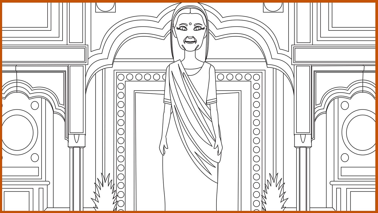 Outline drawing of the wealthy washerwoman