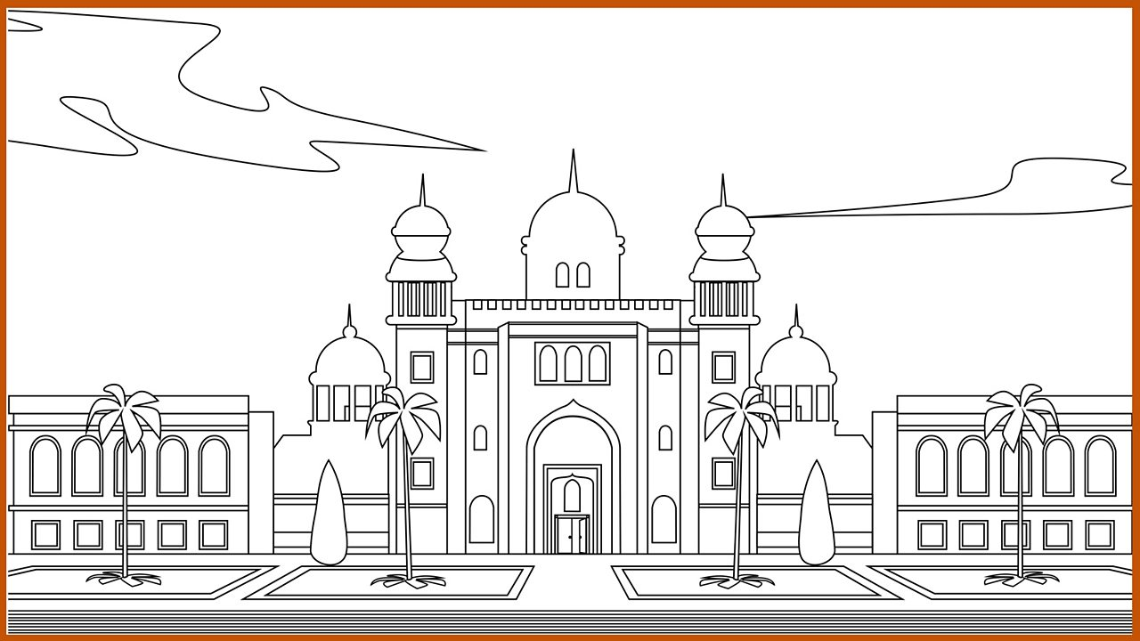 Outline drawing - the palace