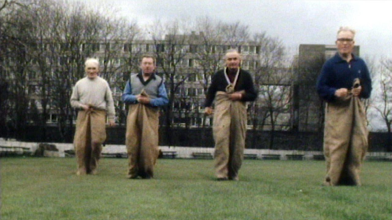 Sack-racing pensioner, 1977