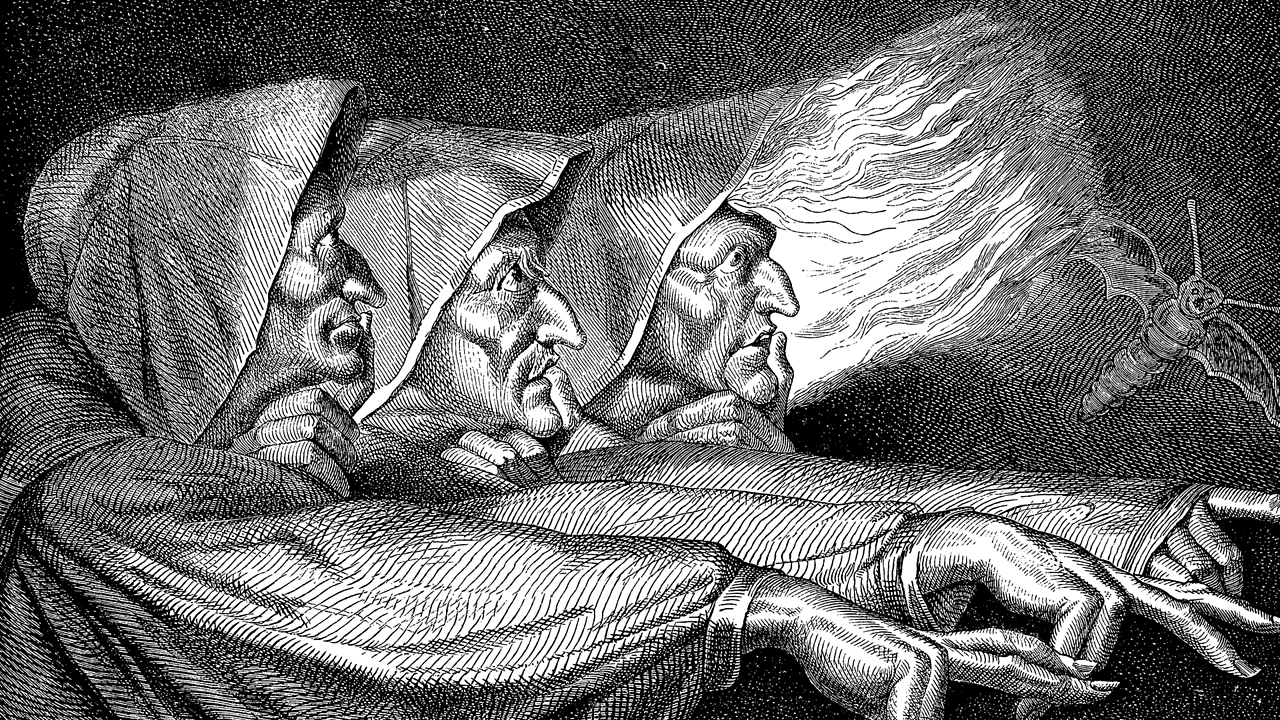 An illustration of the three witches from Shakespeare's Macbeth