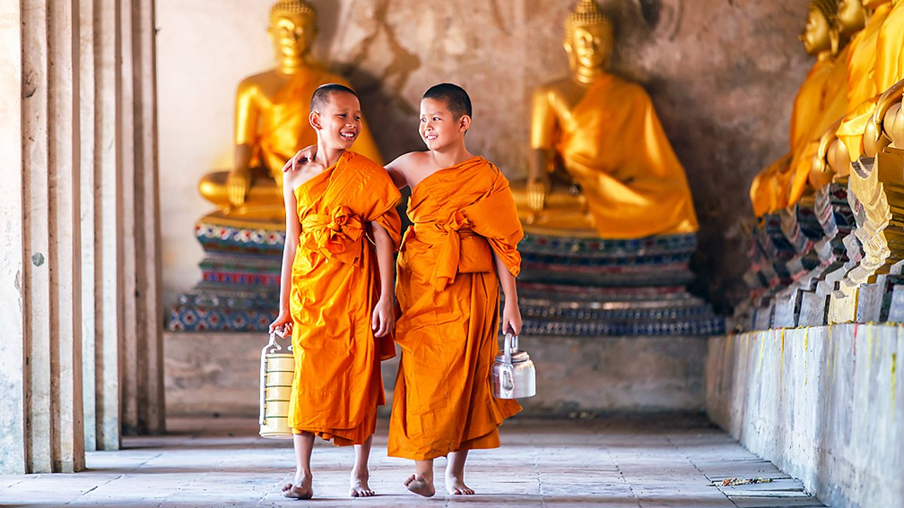 Novice Buddhist monks in a temple