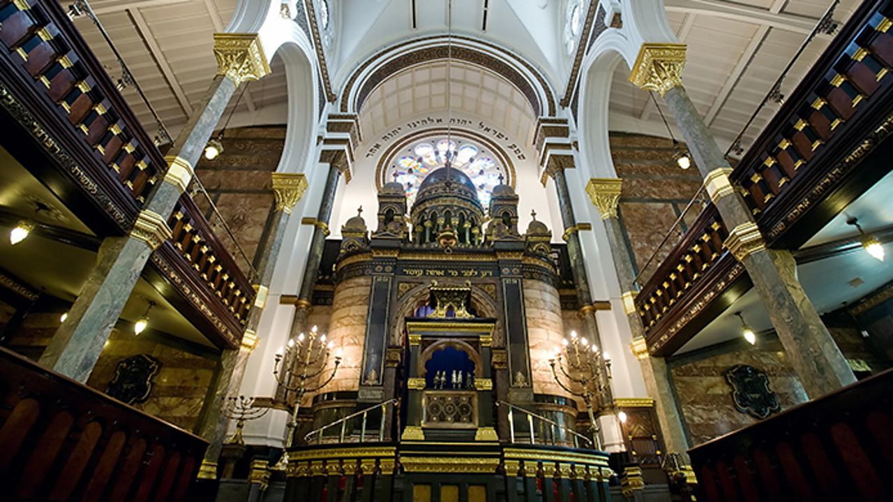 This is the inside of the New West End Synagogue in St Petersburgh Place, London. It is one of the most beautiful and historic Jewish buildings in the UK.