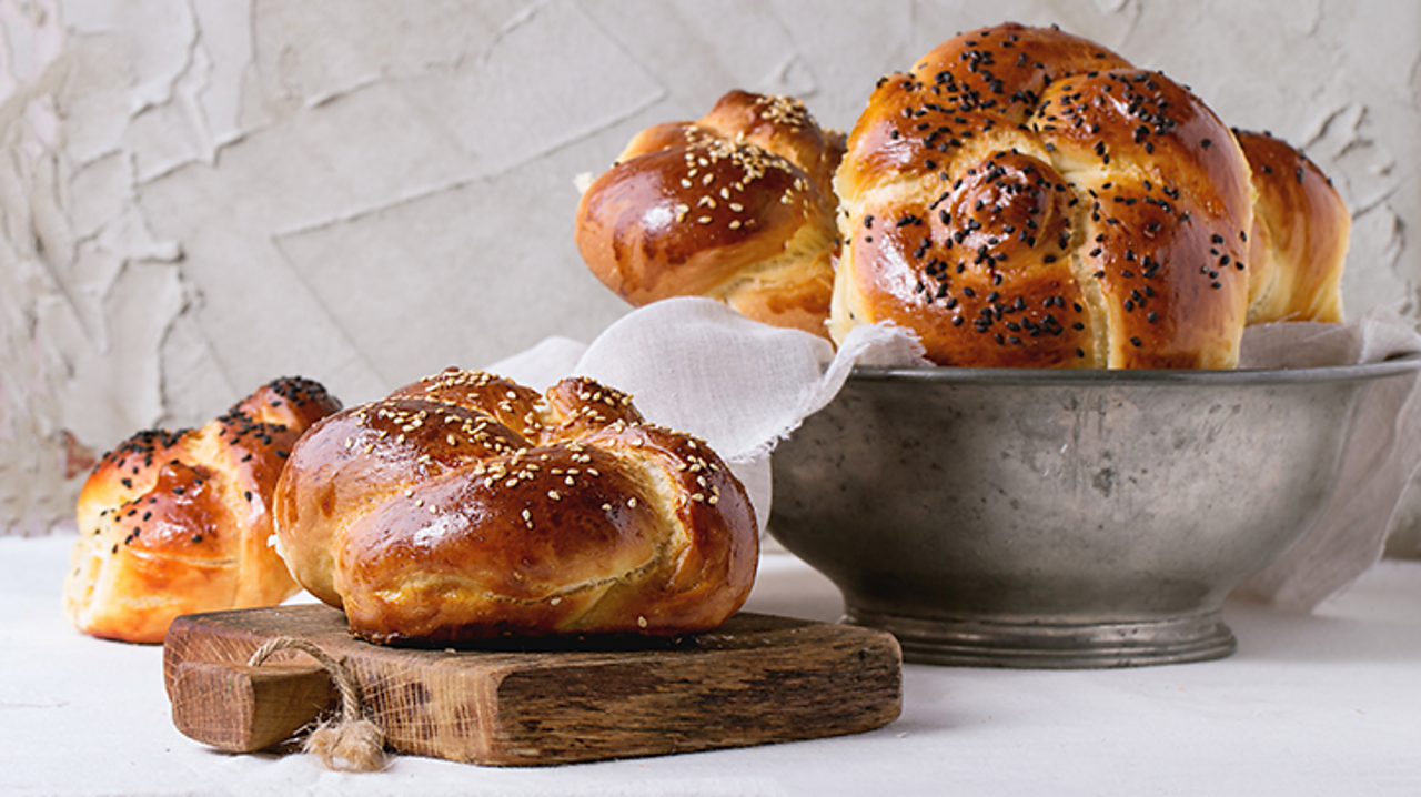 Challah bread is made before Shabbat so that it is ready to be eaten on the day. These loaves are round but they would often be plaited in an oval shape. They can have sweet or savoury flavours added to the dough, or they can be left plain.