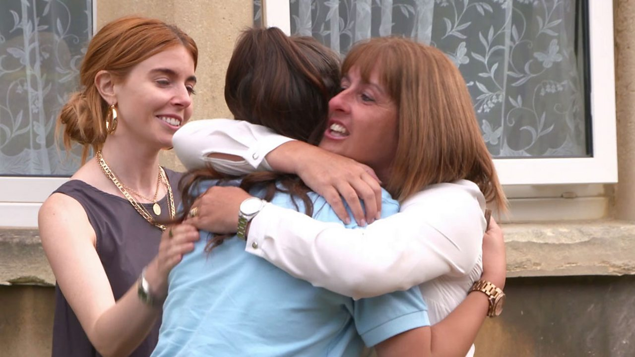 Stacey Dooley hugs two of the programme's contributors.
