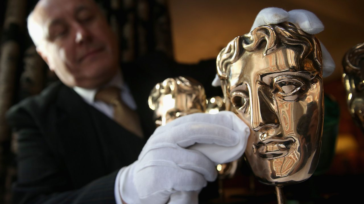 BAFTA mask being polished